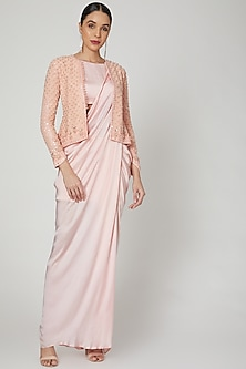 Blush Pink Embroidered Jacket With Gown by Rozina