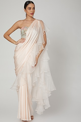 Blush Pink Embroidered Saree Set by Rozina