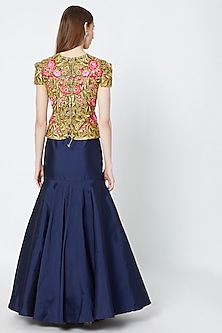 Navy Blue Skirt With Embroidered Peplum Top by Rozina