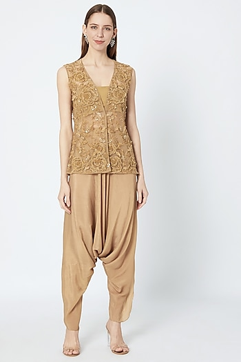 Beige Hand Embroidered Short Jacket With Bustier & Dhoti Pants by Rozina