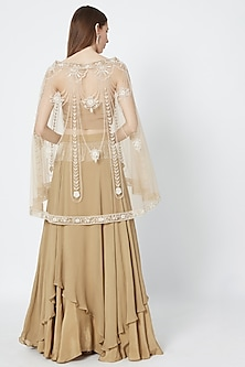 Golden Layered Skirt With Blouse & Embroidered Cape by Rozina