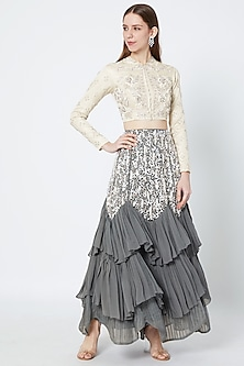 Silver Embellished Blouse With Grey Skirt by Rozina