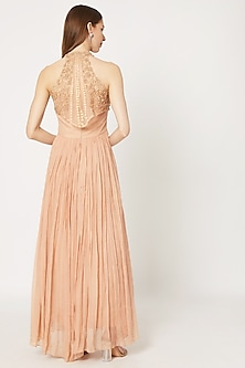 Peach Gown With Embroidered Cape by Rozina