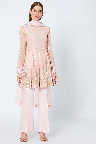Pink Embroidered Kurta Set by Rozina