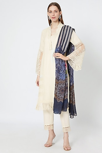Off-White Embroidered Kurta Set by Rozina