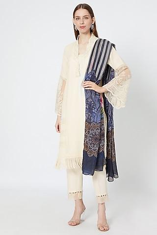Off-White Embroidered Kurta Set by Rozina