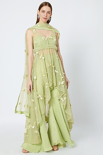 Lime Green Embroidered High-Low Kurta Set by Rozina