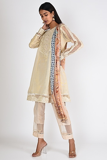 Off White Embroidered Kurta Set by Rozina