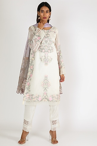 Off White Mirror Embroidered Kurta Set by Rozina