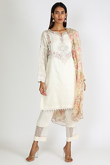 Off White Pearl Embroidered Kurta Set by Rozina