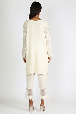 Off White Pearl Embroidered Kurta Set by Rozina