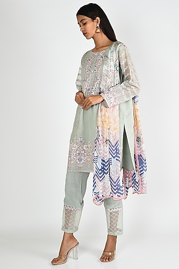 Light Blue Embroidered Kurta Set by Rozina