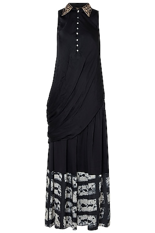 Black Drape Top With Printed Pants by Roshni Chopra