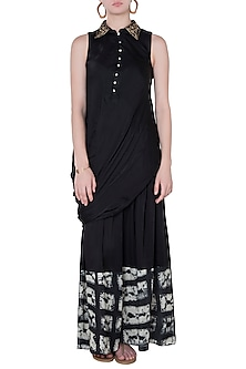 Black Drape Top With Printed Pants by Roshni Chopra