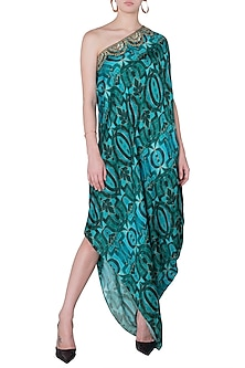 Green Embroidered Printed Drape Dress by Roshni Chopra
