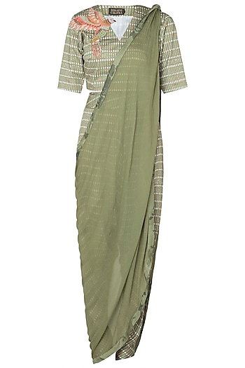 Tropical Green Drape Top & Cowl Pants by Roshni Chopra