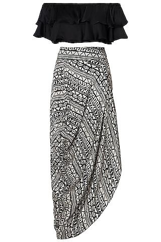 Black Off Shoulder Top With Skirt by Roshni Chopra