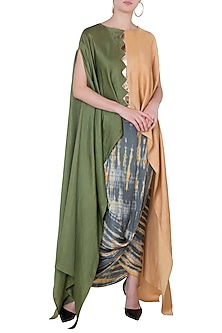 Beige & Green Kaftan Top by Roshni Chopra