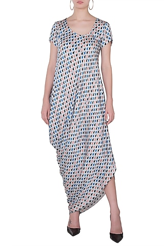 Blue Mughal Printed Drape Dress by Roshni Chopra