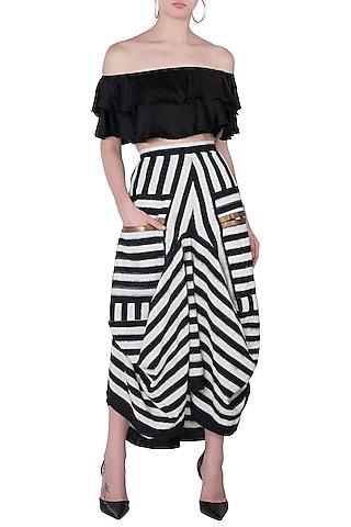 Black & White Striped Skirt by Roshni Chopra