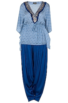 Blue Embroidered Kaftan Top With Patiala Pants by Roshni Chopra