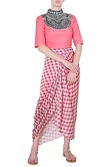 Pink Mirror Worked Crop Top by Roshni Chopra