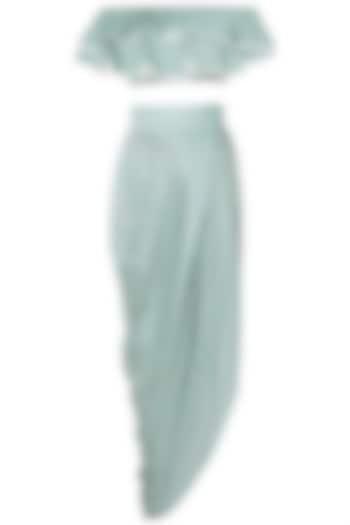 Ice Blue Off Shoulder Crop Top & Skirt by Roshni Chopra