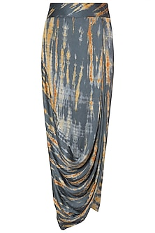 Grey Tie-Dye Wrap Skirt by Roshni Chopra