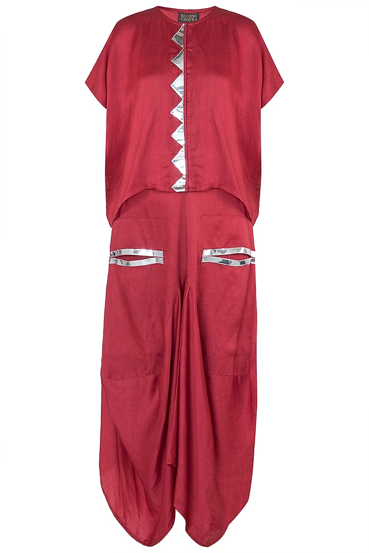Red boxy top with dhoti skirt by Roshni Chopra