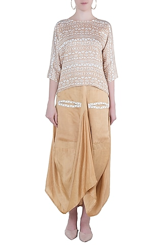 Beige printed top with dhoti skirt by Roshni Chopra