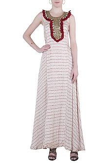 Red printed fringes maxi dress by Roshni Chopra