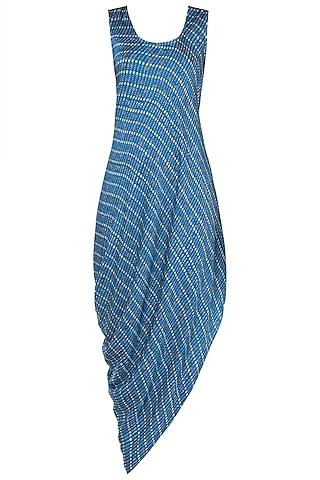 Blue printed drape cowl dress by Roshni Chopra