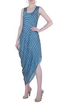 Blue printed drape cowl dress by Roshni Chopra