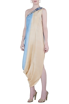 Beige and blue embroidered cowl dress by Roshni Chopra