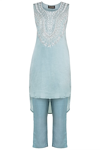 Ice blue embroidered tunic with pants by Roshni Chopra