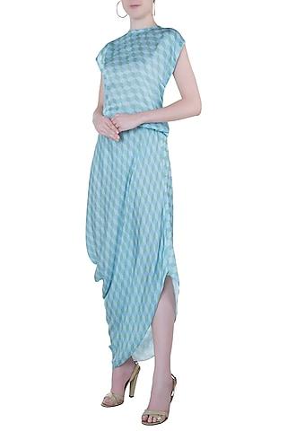 Blue printed cowl dress by Roshni Chopra