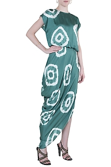 Green tie dye drape dress by Roshni Chopra