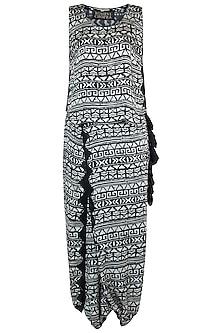 Black printed top with drape pants by Roshni Chopra