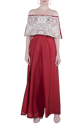 Red embroidered off shoulder top with pants by Roshni Chopra