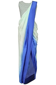 Blue Shaded Drape Saree and Embroidered Blouse Set by Roshni Chopra