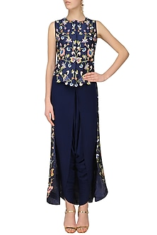 Navy Blue Floral Embroidered High Low Cape Jacket by Roshni Chopra