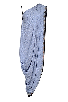 Blue Scallop Print One Shoulder Cowl Top by Roshni Chopra