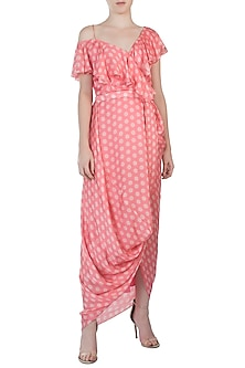 Pink Polka Wrap Dress by Roshni Chopra
