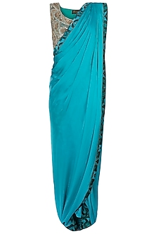 Green Embroidered Sareee with Pants by Roshni Chopra