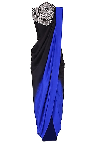 Black and Blue Shaded Leather Work Pre Draped Saree by Roshni Chopra