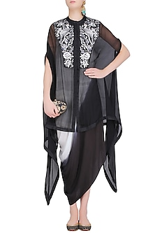 Black Birds Embroidered Cape and Shaded Dress Set by Roshni Chopra