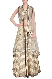 Gold Pita Embroidered Lehenga, Blouse and Cape Set by Roshni Chopra