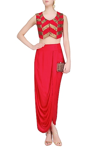 Red and Gold Pita Work Crop Top and Wrap Skirt Set by Roshni Chopra