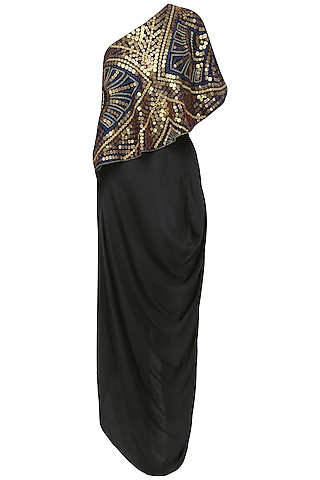 Navy and Black Coin Embroidered Cape and Skirt Set by Roshni Chopra