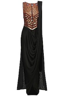 Black Pre Draped Saree Dress with Embroidered Jacket by Roshni Chopra